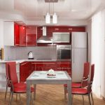 cocina pequeña roja y blanca